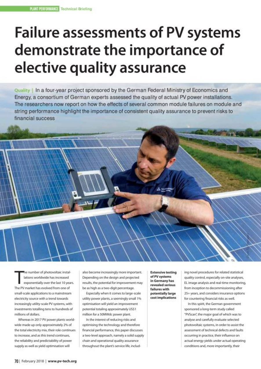 Failure assessments of PV systems demonstrate the importance of elective quality assurance
